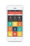 Vista frontale dello Smart Phone bianco con l'applicazione domestica astuta sulla t Immagini Stock Libere da Diritti