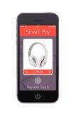 Vista frontale dello Smart Phone nero con l'applicazione astuta di paga su Th Immagini Stock Libere da Diritti