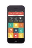 Vista frontale dello Smart Phone nero con l'applicazione domestica astuta sulla t Fotografia Stock