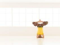 Vista frontale di posa difficile di yoga Fotografia Stock