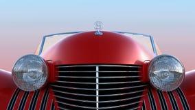 Vista frontale di retro automobile rossa Fotografia Stock Libera da Diritti