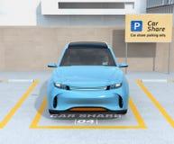Vista frontale di SUV elettrico nel parcheggio di car sharing Immagine Stock