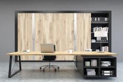 Vista frontale di un CEO ufficio con le porte di legno e uno scaffale Immagine Stock Libera da Diritti