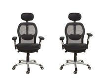 Vista frontale di una sedia moderna dell'ufficio, ricoperta in un testo nero immagine stock