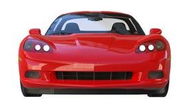 Vista frontale di uno sportscar americano rosso immagini stock