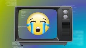 Vista frontale di vecchia TV con un emoticon gridante sullo schermo illustrazione di stock