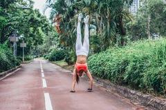 Vista frontale di yoga di pratica della giovane donna esile di misura che fa straigh Fotografia Stock