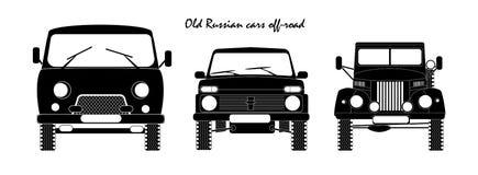 Vista frontale fuori strada delle vecchie automobili russe Fotografia Stock