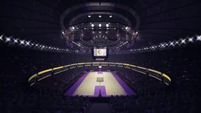 Vista frontale generale del campo da pallacanestro Fotografie Stock Libere da Diritti