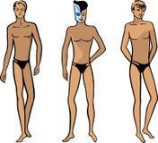 Vista frontale integrale di un uomo nudo diritto Fotografie Stock Libere da Diritti