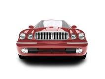Vista frontale isolata dell'automobile rossa Fotografia Stock Libera da Diritti