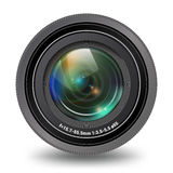 Vista frontale isolata video obiettivo della foto fotografia stock