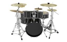 Vista frontale moderna isolata dei tamburi neri Immagini Stock
