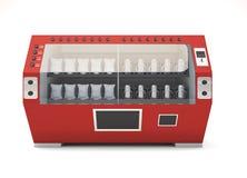 Vista frontale rossa del distributore automatico isolata su fondo bianco Fotografia Stock Libera da Diritti