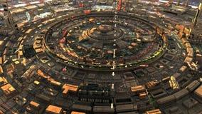 Vista futuristica della via della città di fantascienza, digitalmente illustrazione 3d Fotografia Stock Libera da Diritti