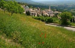 Vista general de Assisi fotografía de archivo