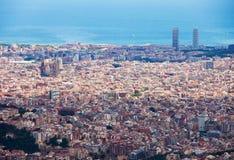 Vista general de Barcelona Imagen de archivo libre de regalías