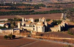 Vista general de Poblet Monaster Imágenes de archivo libres de regalías
