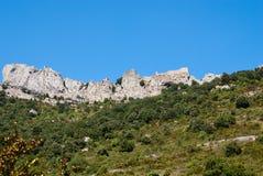 Vista generale del chateau Peyrepertuse Immagine Stock