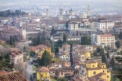 Vista generale della città di area medievale, Citta Alta, Bergamo, lombardo Fotografie Stock