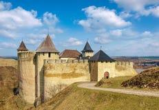 Vista generale della fortezza dall'entrata principale, Ucraina di Khotyn Fotografie Stock
