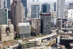 Vista generale della megalopoli giapponese popolata Oska immagine stock libera da diritti