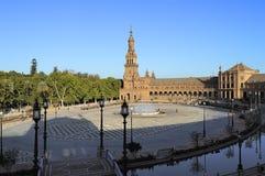 Vista della plaza de Espana (quadrato) della Spagna, Siviglia, Spagna fotografia stock libera da diritti