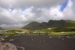 Vista generale a VIk e Myrdal nella riva del sud dell'Islanda Fotografia Stock Libera da Diritti