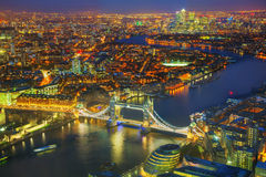 Vista geral aérea da cidade de Londres com a ponte da torre Fotografia de Stock Royalty Free