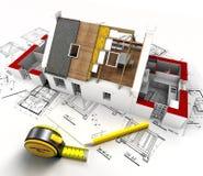 Vista geral da construção da casa Imagens de Stock Royalty Free