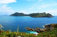Vista geral da ilha de San Martiño (Islas Cies, da Espanha) Fotografia de Stock Royalty Free