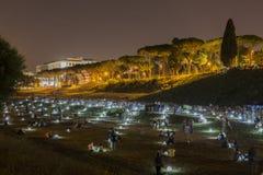 Vista geral das ruínas e das luzes fotos de stock royalty free
