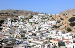 Vista geral de Lindos O Rodes, Grécia fotos de stock