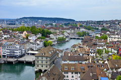Vista geral de Zurique, Suíça Fotos de Stock Royalty Free