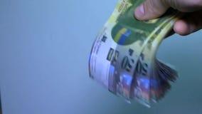 Vista geral do dinheiro suíço Cédula suíça 50 vídeos de arquivo