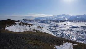Vista geral do lago do gelo de Jökulsarlon Fotografia de Stock Royalty Free