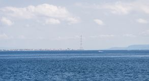 Vista geral do passo de Messina O passo divide a ilha de Sicília do continente italiano fotos de stock royalty free