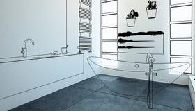 Vista geral moderna da adaptação do banheiro ilustração do vetor