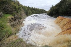 Vista giù il fiume di Tahquamenon fotografia stock