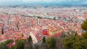 Vista girante aerea di moto della città Nizza della Francia video d archivio