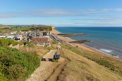 Vista giurassica britannica della costa di Dorset della baia ad ovest Fotografia Stock Libera da Diritti