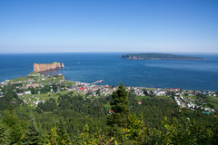 Vista globale di Percé in Gaspesie Immagine Stock