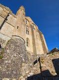 Vista granangular maravillosa de la abadía antigua de Mont Saint-Michel Normandía, Francia, Europa Imágenes de archivo libres de regalías
