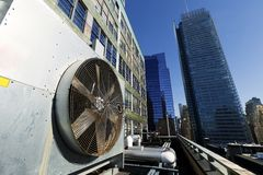 Unità all'aperto Manhattan New York di Contidioner dell'aria urbana di HVAC Fotografia Stock