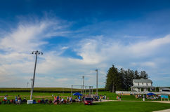 Vista grandangolare del campo del sito di film di sogni - Dyersville, Iowa fotografia stock libera da diritti