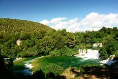 Vista grandangolare della cascata Fotografia Stock