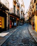 Vista grandangolare della via stretta del ciottolo nel centro storico di Girona fotografia stock libera da diritti