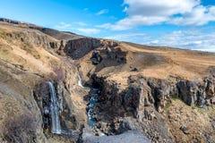Vista grande de Litlanesfoss Islandia Imagenes de archivo