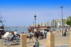 Vista Grecia della passeggiata di Salonicco Fotografia Stock