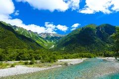 Vista H del fiume della montagna di Kamikochi Hotaka Dake Fotografie Stock